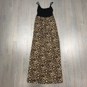 Forever 21 Leopard Print Strappy Long Maxi Dress